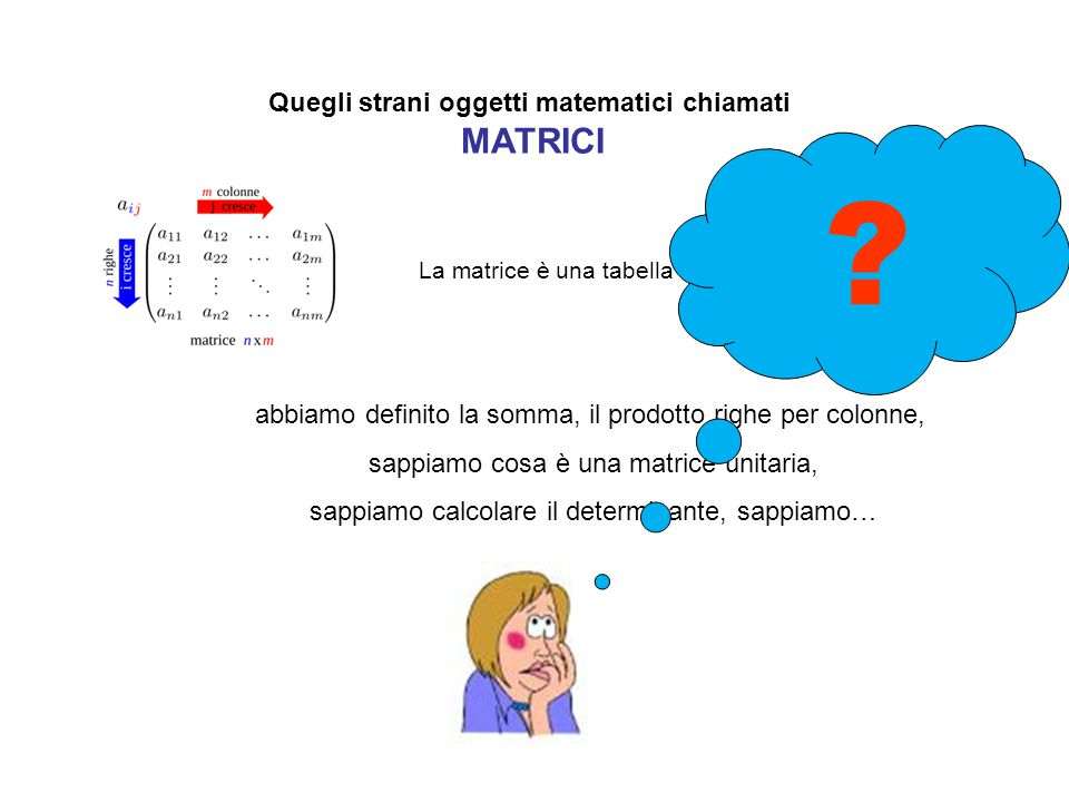 Quegli strani oggetti matematici chiamati MATRICI La matrice è una tabella finita di numeri abbiamo definito la somma, il prodotto righe per colonne,