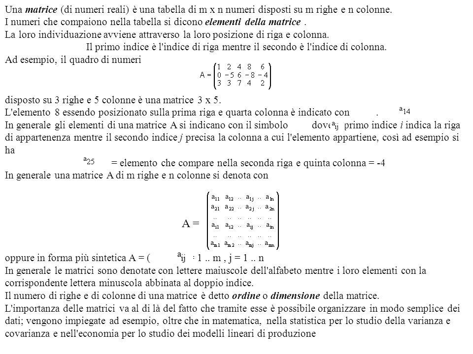 Una matrice (di numeri reali) è una tabella di m x n numeri disposti su m righe e n colonne.