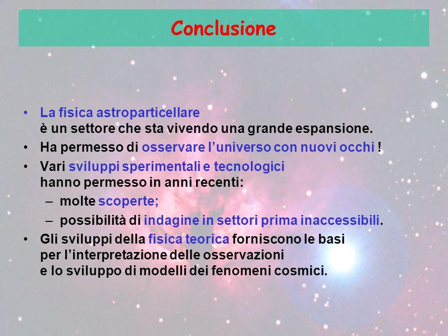 Conclusione La fisica astroparticellare è un settore che sta vivendo una grande espansione. Ha permesso di osservare l'universo con nuovi occhi ! Vari