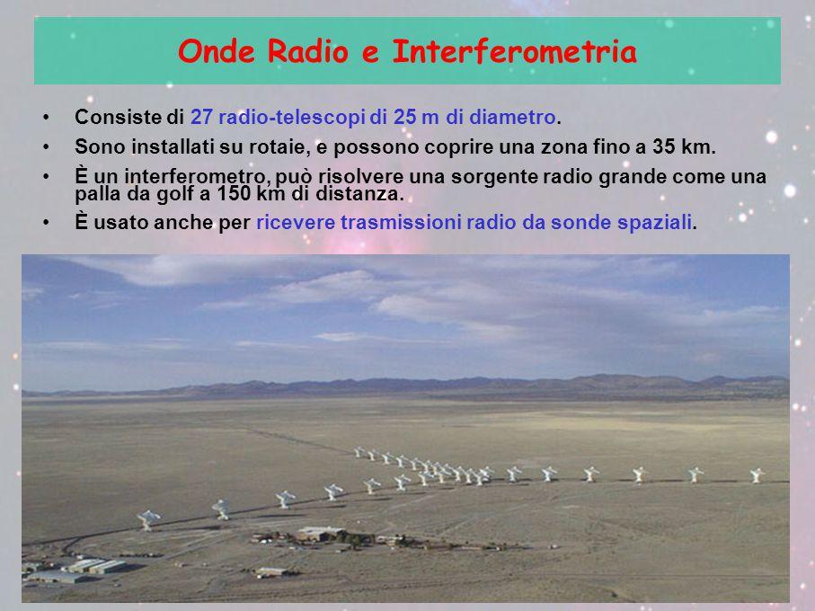 Onde Radio e Interferometria Consiste di 27 radio-telescopi di 25 m di diametro. Sono installati su rotaie, e possono coprire una zona fino a 35 km. È