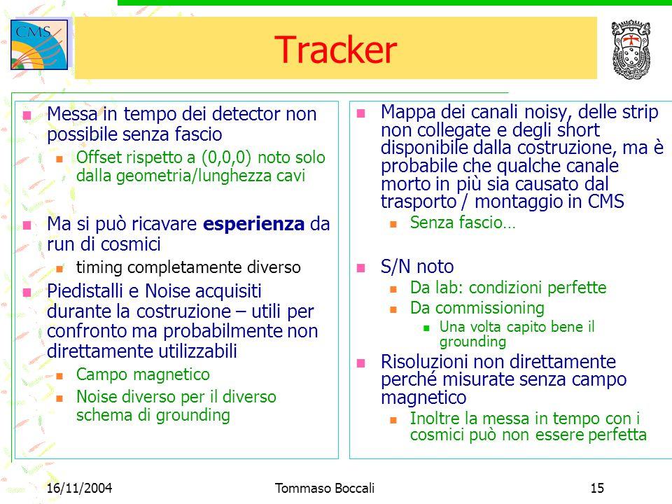 16/11/2004Tommaso Boccali15 Tracker Messa in tempo dei detector non possibile senza fascio Offset rispetto a (0,0,0) noto solo dalla geometria/lunghez