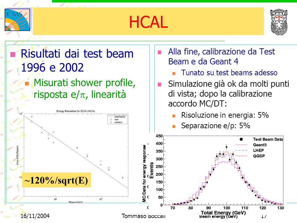 16/11/2004Tommaso Boccali17 HCAL Risultati dai test beam 1996 e 2002 Misurati shower profile, risposta e/ , linearità Alla fine, calibrazione da Test Beam e da Geant 4 Tunato su test beams adesso Simulazione già ok da molti punti di vista; dopo la calibrazione accordo MC/DT: Risoluzione in energia: 5% Separazione e/p: 5% linearità ~120%/sqrt(E)