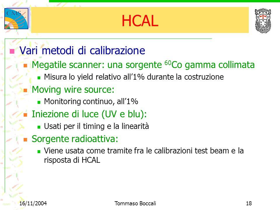 16/11/2004Tommaso Boccali18 HCAL Vari metodi di calibrazione Megatile scanner: una sorgente 60 Co gamma collimata Misura lo yield relativo all'1% dura
