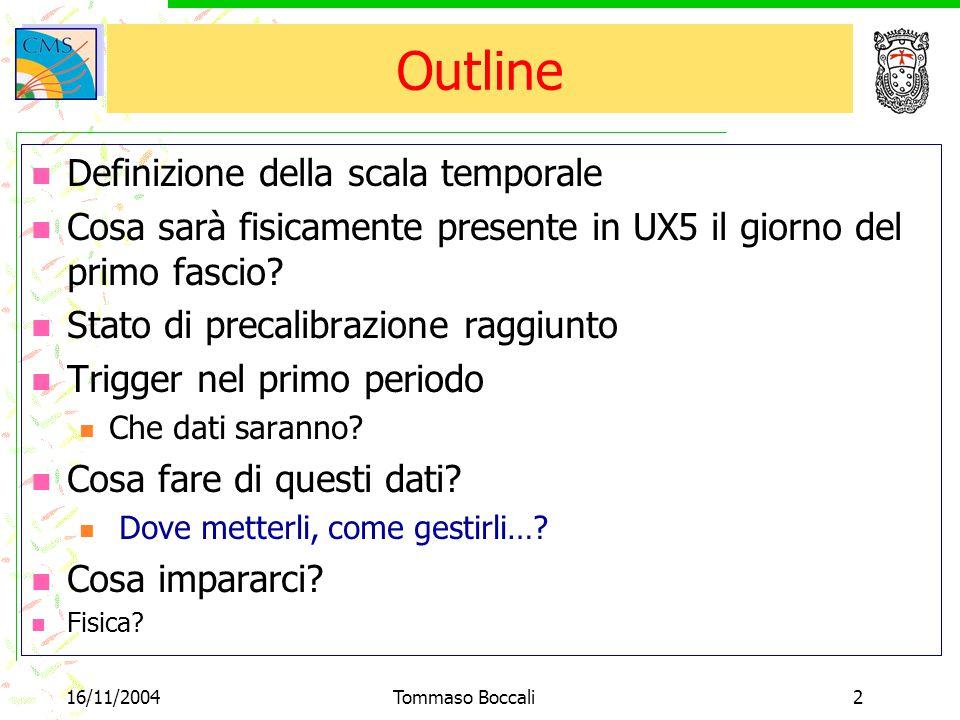 16/11/2004Tommaso Boccali2 Outline Definizione della scala temporale Cosa sarà fisicamente presente in UX5 il giorno del primo fascio? Stato di precal