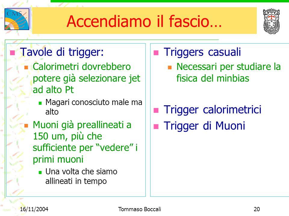16/11/2004Tommaso Boccali20 Accendiamo il fascio… Tavole di trigger: Calorimetri dovrebbero potere già selezionare jet ad alto Pt Magari conosciuto ma