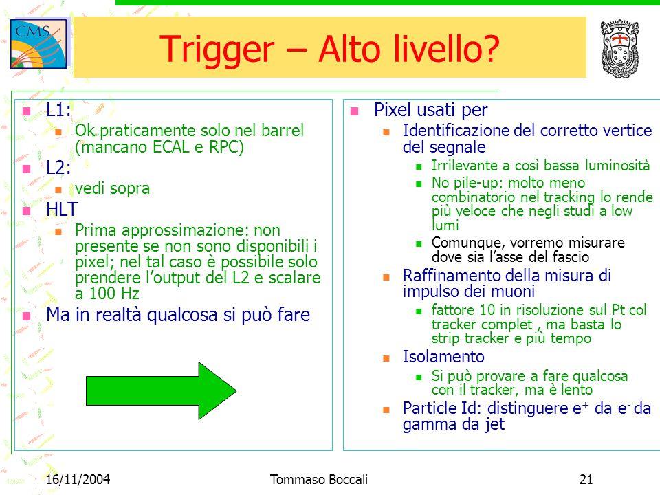 16/11/2004Tommaso Boccali21 Trigger – Alto livello? L1: Ok praticamente solo nel barrel (mancano ECAL e RPC) L2: vedi sopra HLT Prima approssimazione:
