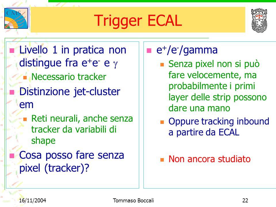 16/11/2004Tommaso Boccali22 Trigger ECAL Livello 1 in pratica non distingue fra e + e - e  Necessario tracker Distinzione jet-cluster em Reti neurali, anche senza tracker da variabili di shape Cosa posso fare senza pixel (tracker).