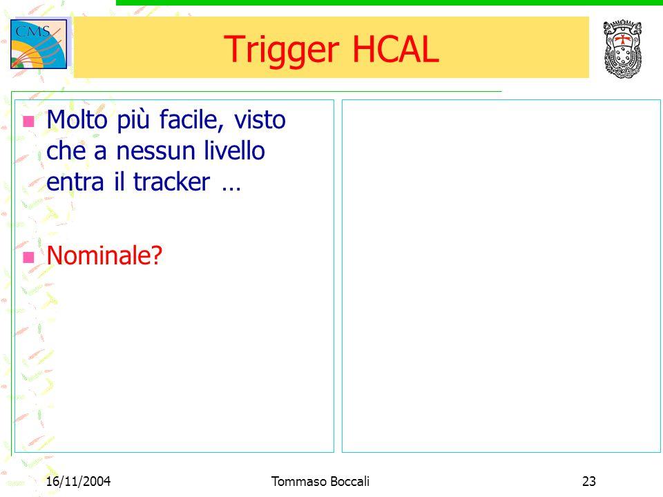 16/11/2004Tommaso Boccali23 Trigger HCAL Molto più facile, visto che a nessun livello entra il tracker … Nominale?
