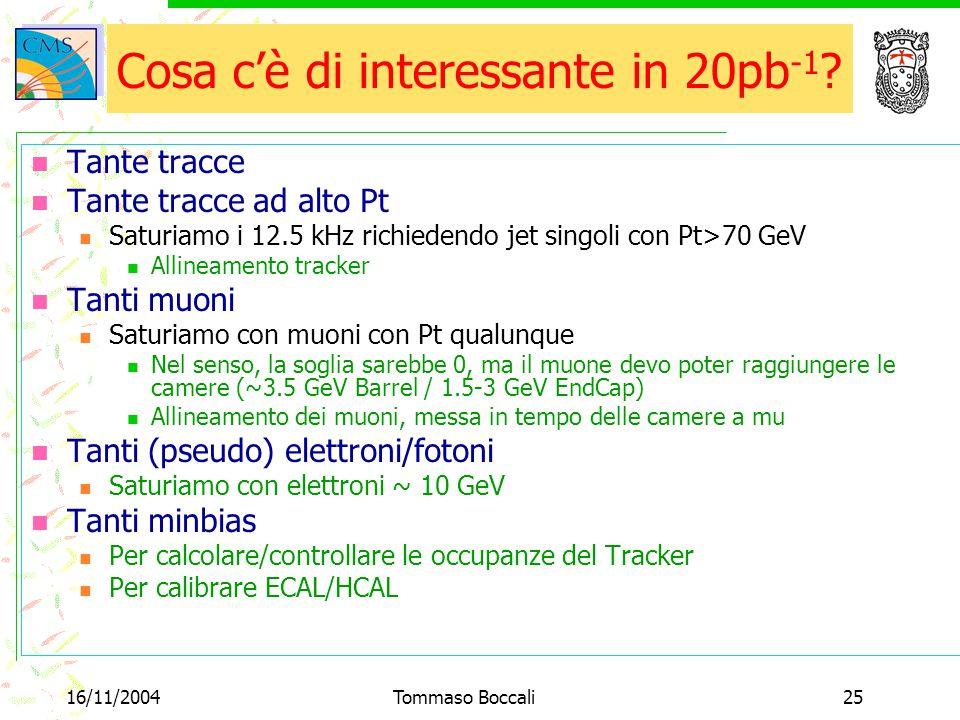 16/11/2004Tommaso Boccali25 Cosa c'è di interessante in 20pb -1 ? Tante tracce Tante tracce ad alto Pt Saturiamo i 12.5 kHz richiedendo jet singoli co