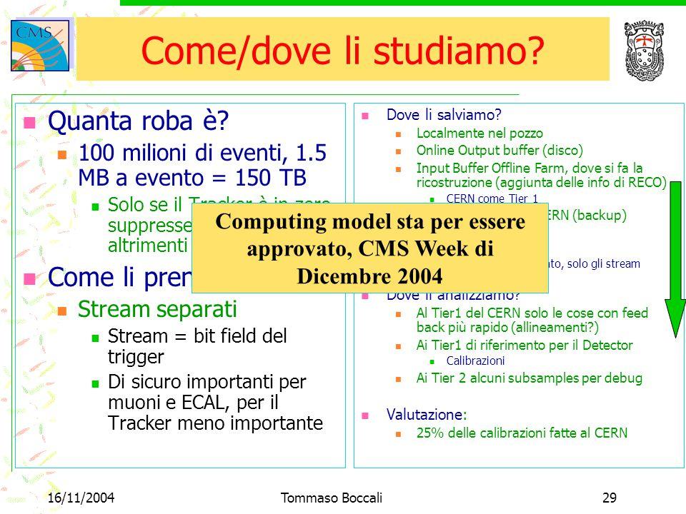 16/11/2004Tommaso Boccali29 Dove li salviamo? Localmente nel pozzo Online Output buffer (disco) Input Buffer Offline Farm, dove si fa la ricostruzione