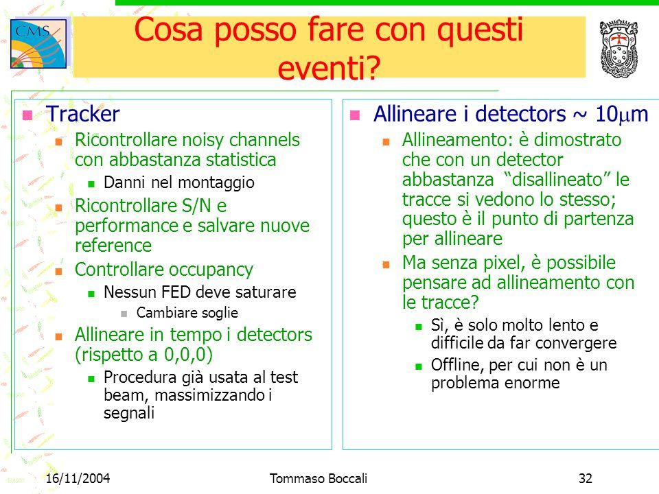16/11/2004Tommaso Boccali32 Cosa posso fare con questi eventi? Tracker Ricontrollare noisy channels con abbastanza statistica Danni nel montaggio Rico