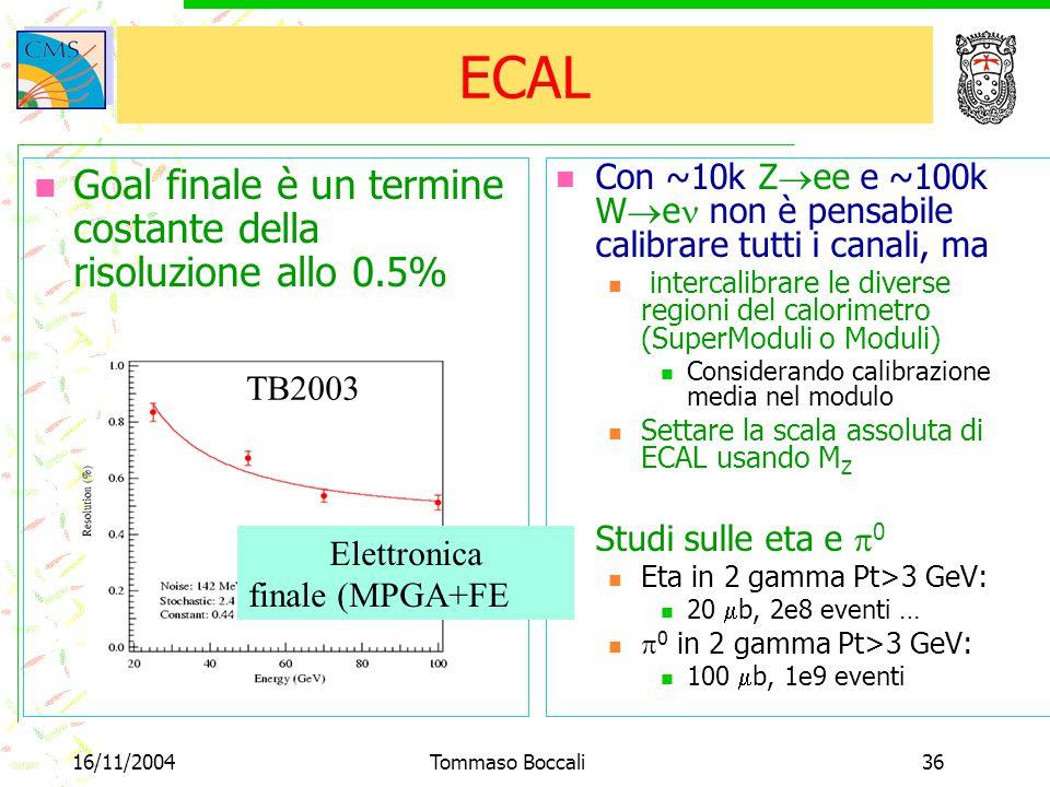 16/11/2004Tommaso Boccali36 ECAL Goal finale è un termine costante della risoluzione allo 0.5% TB2003 Con ~10k Z  ee e ~100k W  e non è pensabile calibrare tutti i canali, ma intercalibrare le diverse regioni del calorimetro (SuperModuli o Moduli) Considerando calibrazione media nel modulo Settare la scala assoluta di ECAL usando M Z Studi sulle eta e  0 Eta in 2 gamma Pt>3 GeV: 20  b, 2e8 eventi …  0 in 2 gamma Pt>3 GeV: 100  b, 1e9 eventi Elettronica finale (MPGA+FE