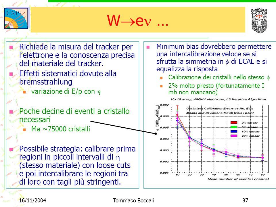 16/11/2004Tommaso Boccali37 W  e … Minimum bias dovrebbero permettere una intercalibrazione veloce se si sfrutta la simmetria in  di ECAL e si equalizza la risposta Calibrazione dei cristalli nello stesso  2% molto presto (fortunatamente I mb non mancano) Richiede la misura del tracker per l'elettrone e la conoscenza precisa del materiale del tracker.