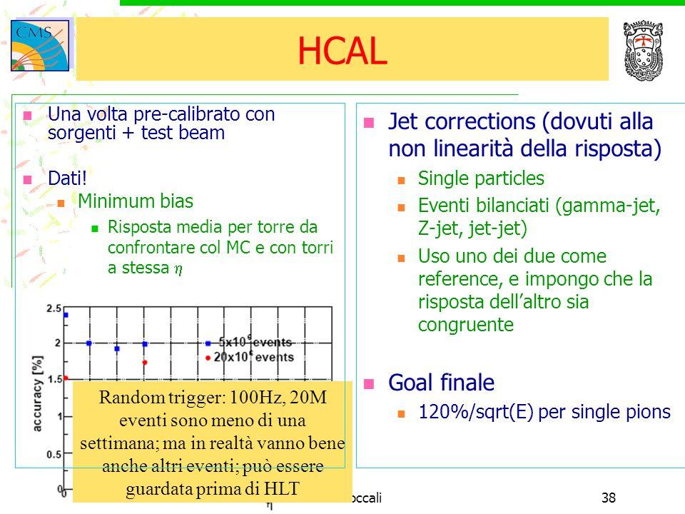 16/11/2004Tommaso Boccali38 HCAL Jet corrections (dovuti alla non linearità della risposta) Single particles Eventi bilanciati (gamma-jet, Z-jet, jet-jet) Uso uno dei due come reference, e impongo che la risposta dell'altro sia congruente Goal finale 120%/sqrt(E) per single pions Random trigger: 100Hz, 20M eventi sono meno di una settimana; ma in realtà vanno bene anche altri eventi; può essere guardata prima di HLT Una volta pre-calibrato con sorgenti + test beam Dati.