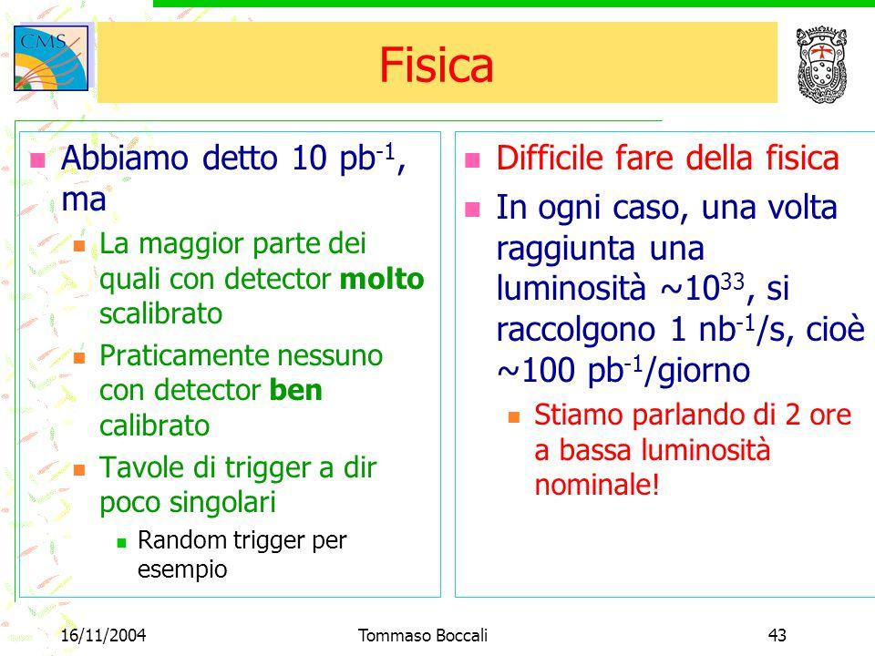 16/11/2004Tommaso Boccali43 Fisica Abbiamo detto 10 pb -1, ma La maggior parte dei quali con detector molto scalibrato Praticamente nessuno con detect