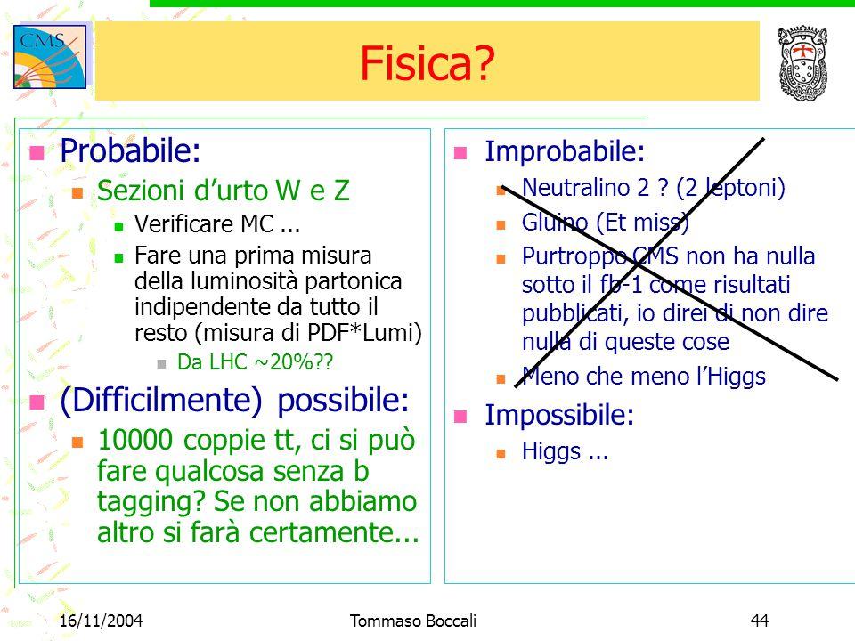 16/11/2004Tommaso Boccali44 Fisica? Probabile: Sezioni d'urto W e Z Verificare MC... Fare una prima misura della luminosità partonica indipendente da