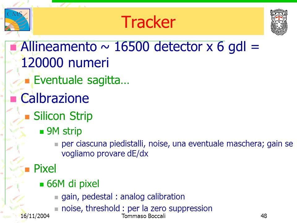 16/11/2004Tommaso Boccali48 Tracker Allineamento ~ 16500 detector x 6 gdl = 120000 numeri Eventuale sagitta… Calbrazione Silicon Strip 9M strip per ciascuna piedistalli, noise, una eventuale maschera; gain se vogliamo provare dE/dx Pixel 66M di pixel gain, pedestal : analog calibration noise, threshold : per la zero suppression