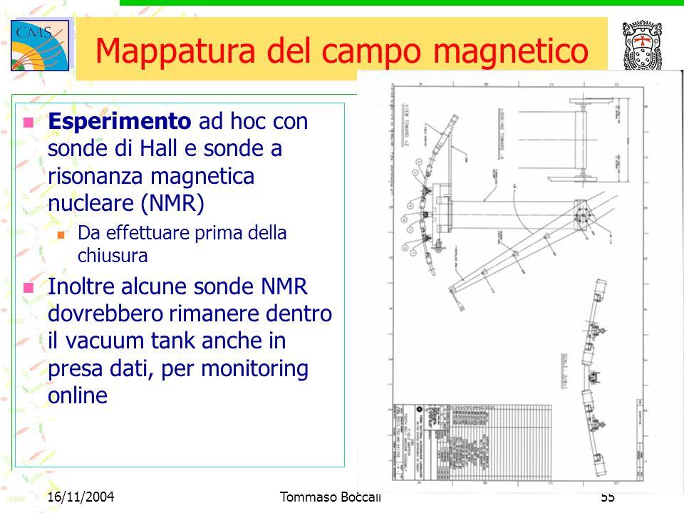 16/11/2004Tommaso Boccali55 Mappatura del campo magnetico Esperimento ad hoc con sonde di Hall e sonde a risonanza magnetica nucleare (NMR) Da effettuare prima della chiusura Inoltre alcune sonde NMR dovrebbero rimanere dentro il vacuum tank anche in presa dati, per monitoring online