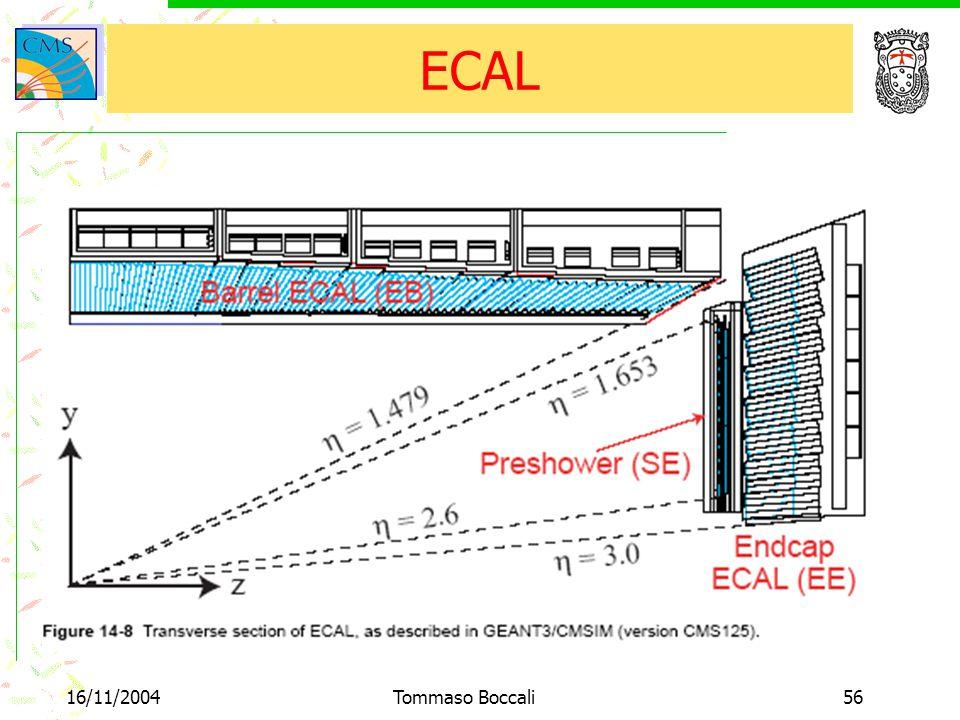 16/11/2004Tommaso Boccali56 ECAL
