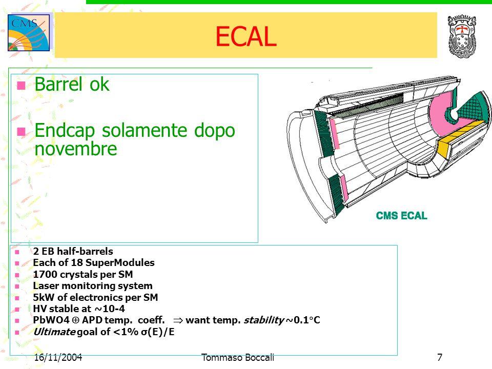 16/11/2004Tommaso Boccali7 ECAL Barrel ok Endcap solamente dopo novembre 2 EB half-barrels Each of 18 SuperModules 1700 crystals per SM Laser monitoring system 5kW of electronics per SM HV stable at ~10-4 PbWO4  APD temp.