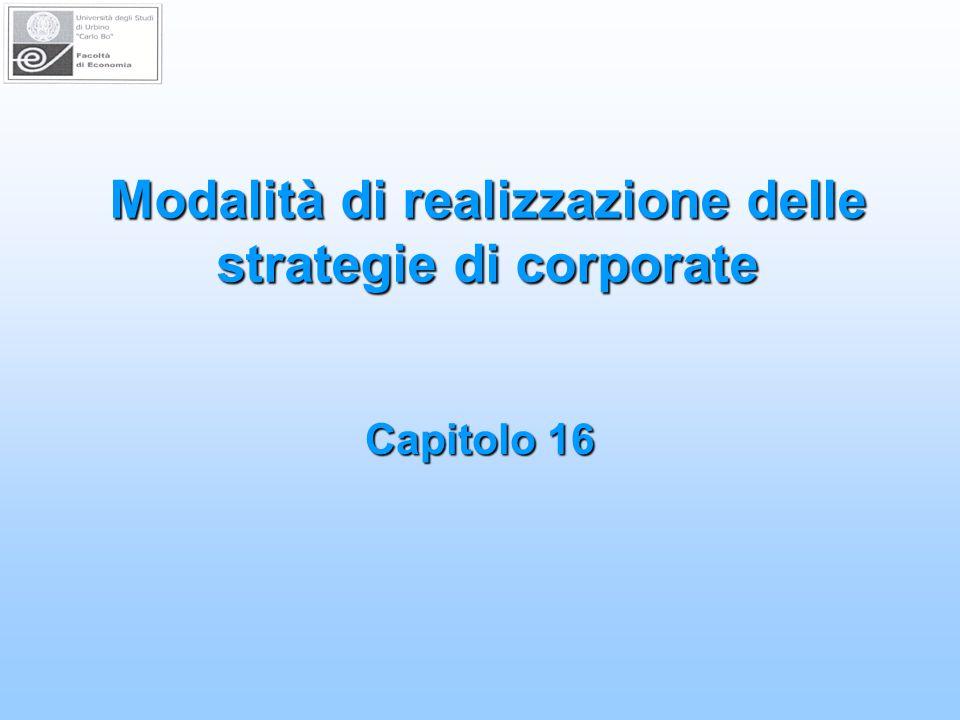 Modalità di realizzazione delle strategie di corporate Capitolo 16