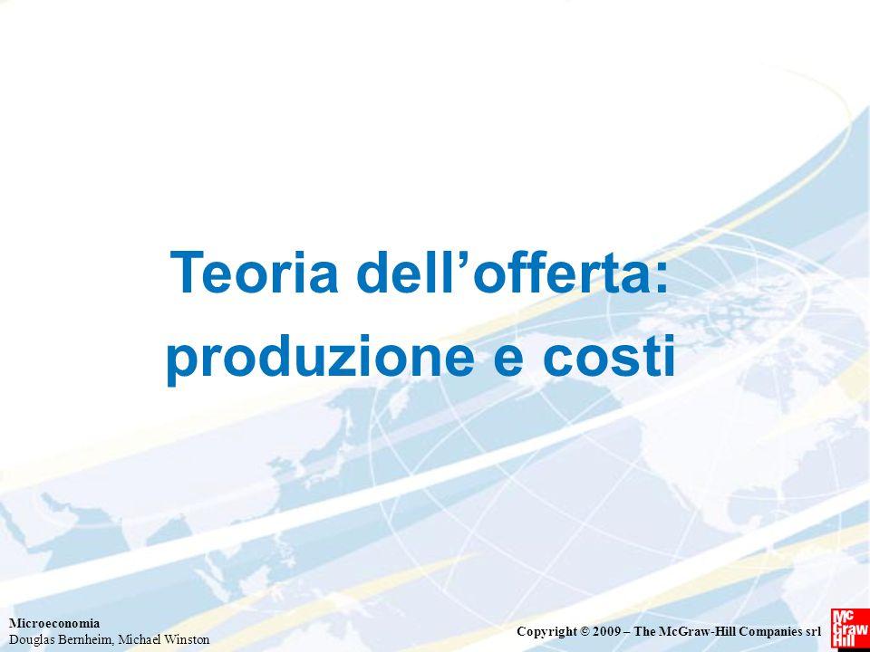 Microeconomia Douglas Bernheim, Michael Winston Copyright © 2009 – The McGraw-Hill Companies srl Teoria dell'offerta: produzione e costi