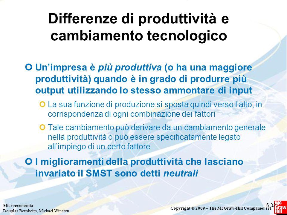 Microeconomia Douglas Bernheim, Michael Winston Copyright © 2009 – The McGraw-Hill Companies srl Differenze di produttività e cambiamento tecnologico