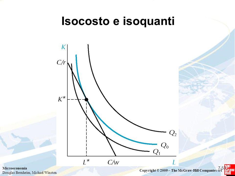 Microeconomia Douglas Bernheim, Michael Winston Copyright © 2009 – The McGraw-Hill Companies srl Isocosto e isoquanti 7-53