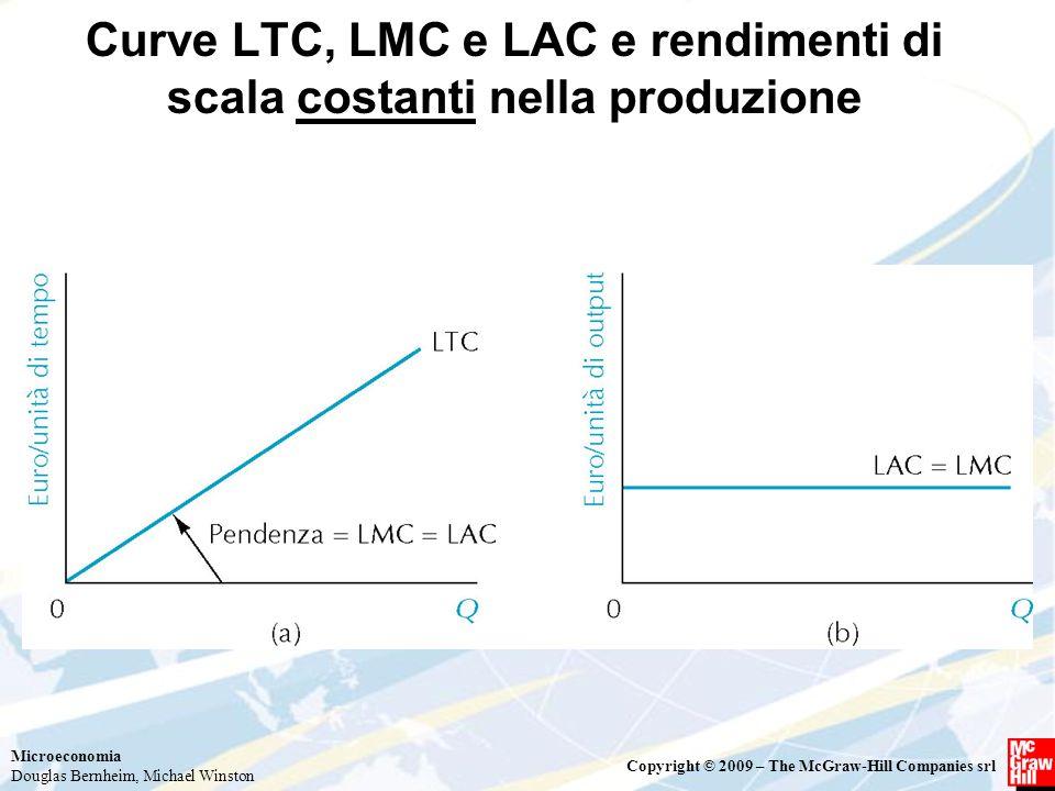 Microeconomia Douglas Bernheim, Michael Winston Copyright © 2009 – The McGraw-Hill Companies srl Curve LTC, LMC e LAC e rendimenti di scala costanti n