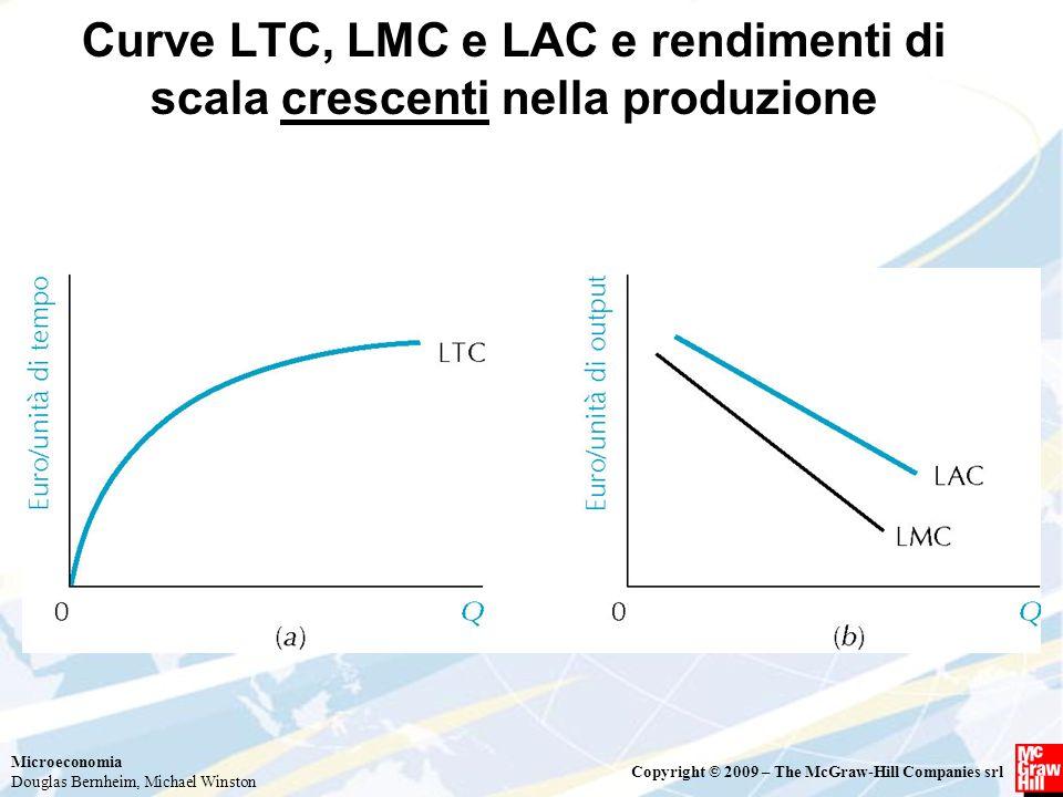 Microeconomia Douglas Bernheim, Michael Winston Copyright © 2009 – The McGraw-Hill Companies srl Curve LTC, LMC e LAC e rendimenti di scala crescenti
