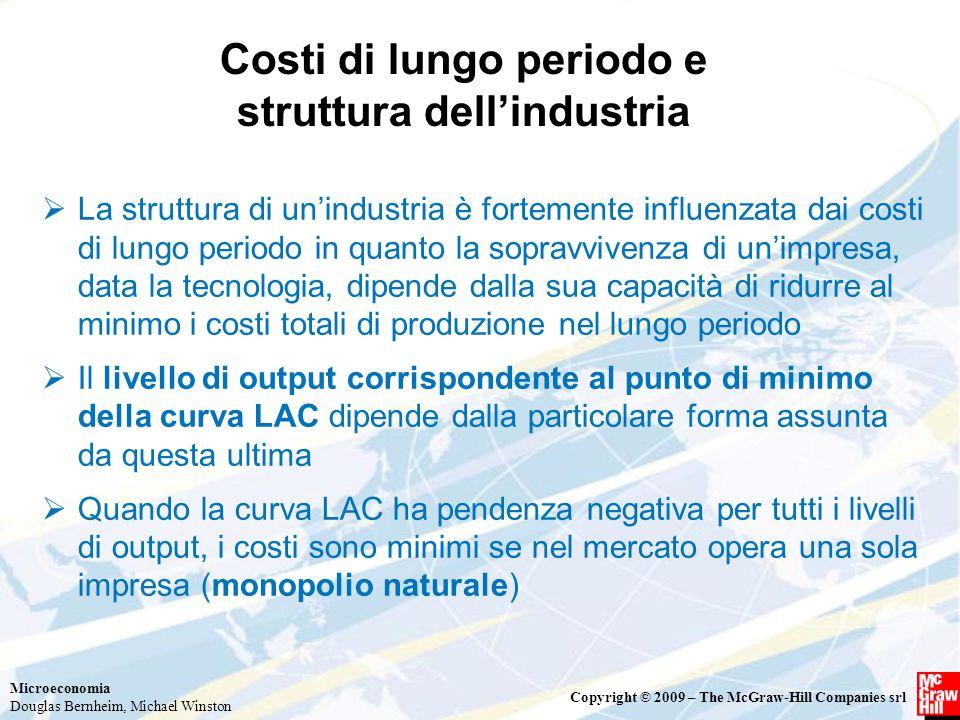 Microeconomia Douglas Bernheim, Michael Winston Copyright © 2009 – The McGraw-Hill Companies srl Costi di lungo periodo e struttura dell'industria  L