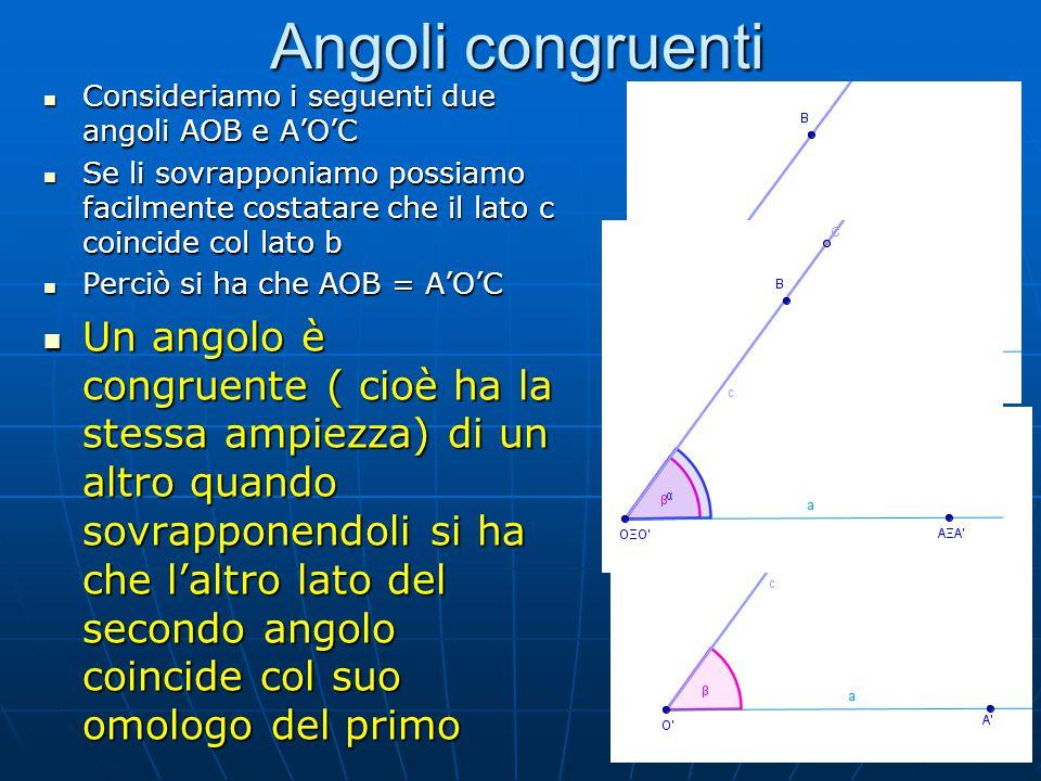 Tipi di angoli Possiamo individuare 5 tipi di angoli di cui 3 notevoli (una cosa è notevole quando ha qualcosa di speciale o particolare) 1.