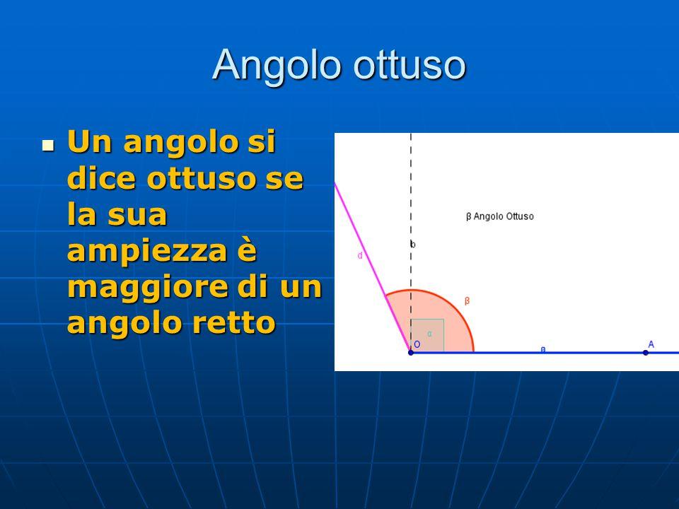 Somma di angoli Sono dati due angoli AOB e CKD Per fare la somma di due angoli faccio coincidere i lati non omologhi e i due vertici Lati non omologhi: sono lati che non occupano la stessa posizione (colore diverso) AOD è la somma fra l'angolo AOB e l'angolo CKD AOB + CKD = AOD γ = α + β A O B C K D A O B C K D