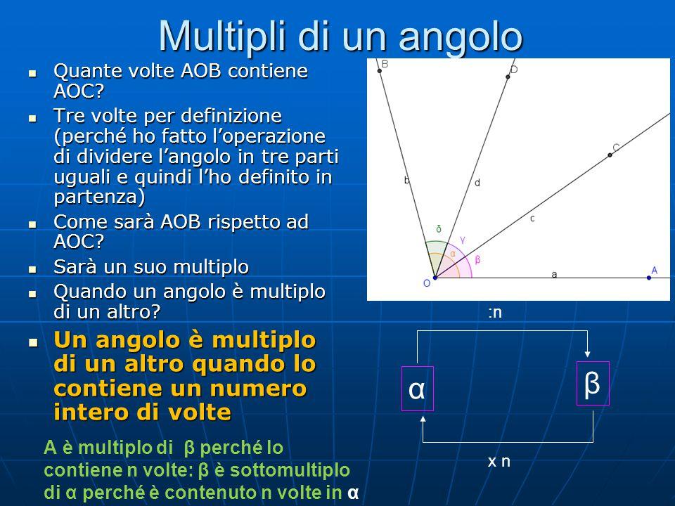 Angoli complementari Consideriamo due angoli AOB e CKD e proviamo a sommare questi due angoli Consideriamo due angoli AOB e CKD e proviamo a sommare questi due angoli Dalla somma è uscito un angolo retto Dalla somma è uscito un angolo retto Due angoli si dicono complementari se la loro somma è un angolo retto