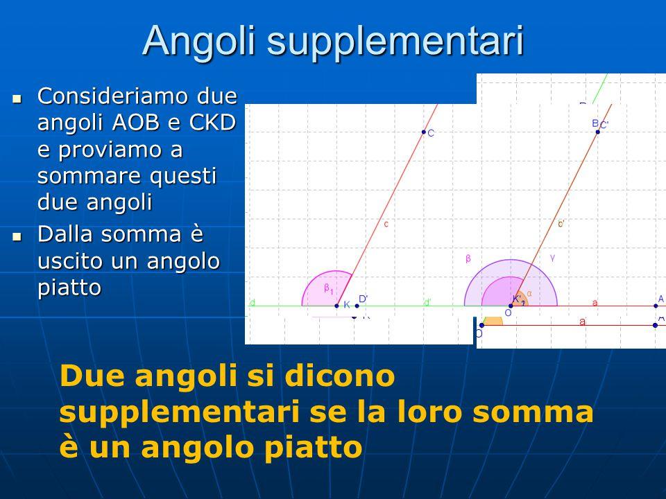 Angoli esplementari Consideriamo due angoli AOB e CKD e proviamo a sommare questi due angoli Consideriamo due angoli AOB e CKD e proviamo a sommare questi due angoli Dalla somma è uscito un angolo giro Due Angoli si dicono esplementari se la loro somma è un angolo giro