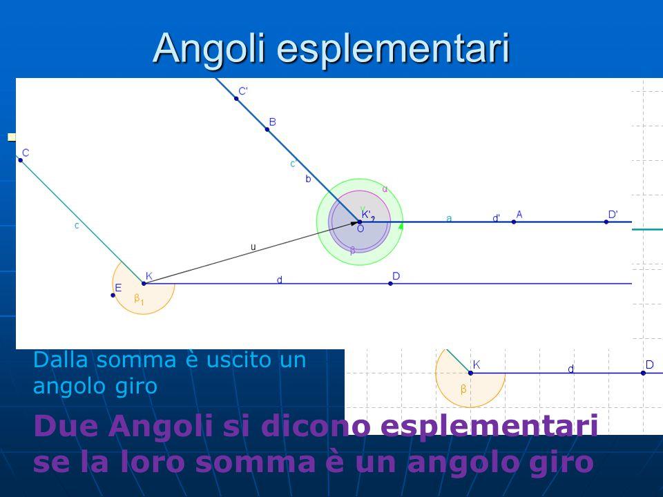 Angoli esplementari Consideriamo due angoli AOB e CKD e proviamo a sommare questi due angoli Consideriamo due angoli AOB e CKD e proviamo a sommare qu