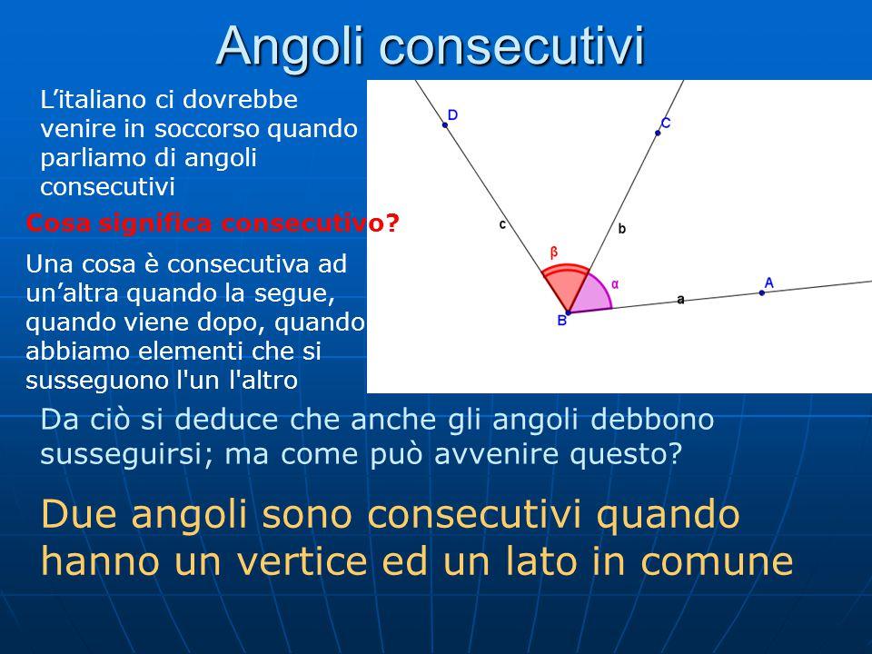 Angoli adiacenti Si dicono adiacenti due angoli consecutivi e i cui lati non comuni giacciono sulla stessa retta