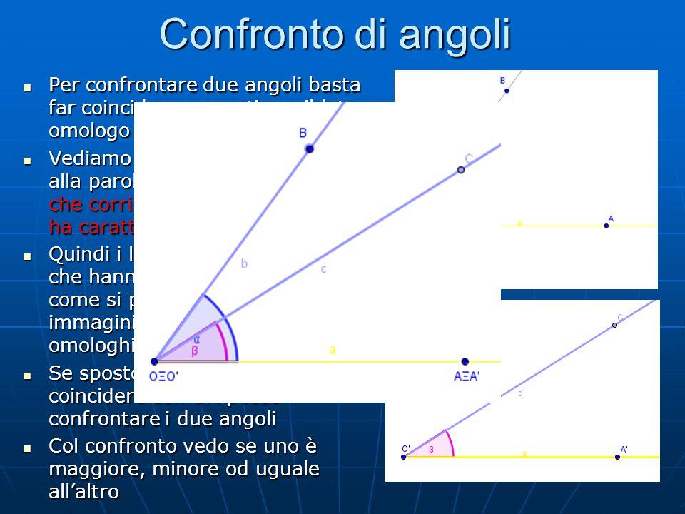 Angolo maggiore di un'altro Consideriamo le due figure precedenti Consideriamo le due figure precedenti Com'è l'angolo AOB rispetto all'angolo A'O'B' Com'è l'angolo AOB rispetto all'angolo A'O'B' Quando li sovrappongo vedo che il alto c cade all'interno dell'angolo AOB Quando li sovrappongo vedo che il alto c cade all'interno dell'angolo AOB In questo caso avremmo che l'angolo AOB > A'O'C In questo caso avremmo che l'angolo AOB > A'O'C Un angolo è maggiore di un altro quando sovrapponendoli si ha che l'altro lato del secondo angolo cade all'interno del primo Un angolo è maggiore di un altro quando sovrapponendoli si ha che l'altro lato del secondo angolo cade all'interno del primo