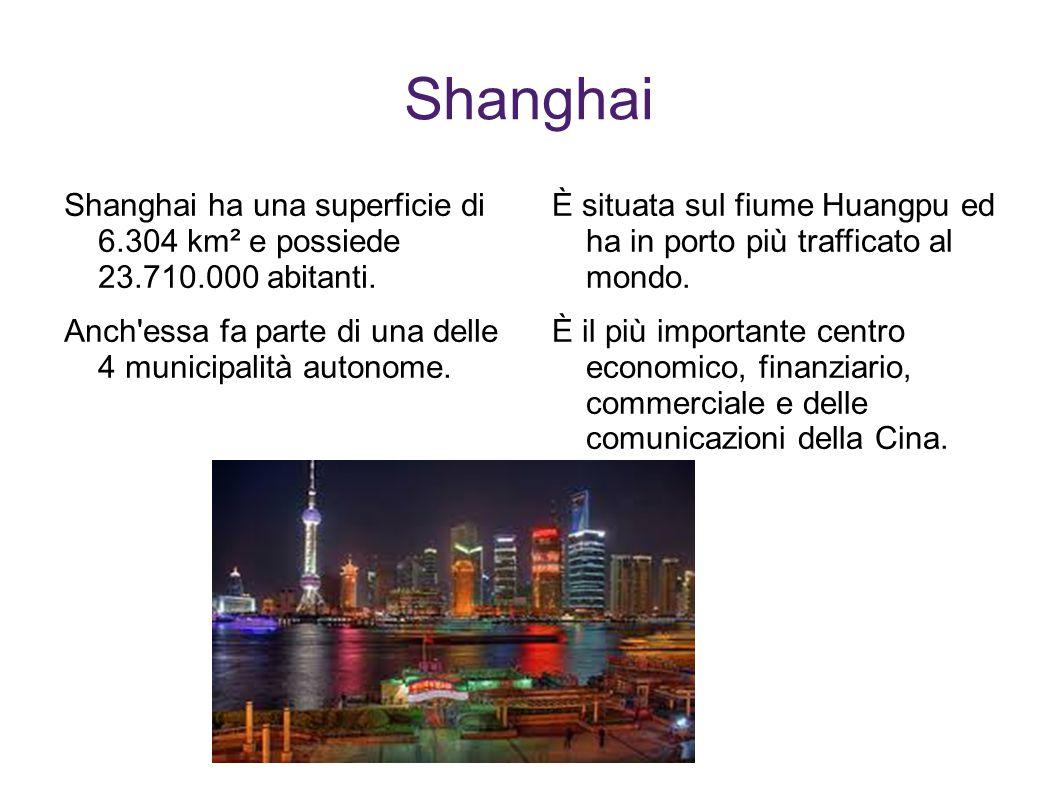 Shanghai Shanghai ha una superficie di 6.304 km² e possiede 23.710.000 abitanti. Anch'essa fa parte di una delle 4 municipalità autonome. È situata su