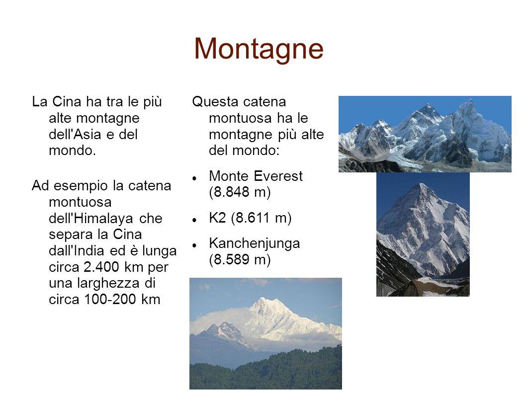 Montagne La Cina ha tra le più alte montagne dell'Asia e del mondo. Questa catena montuosa ha le montagne più alte del mondo: Monte Everest (8.848 m)