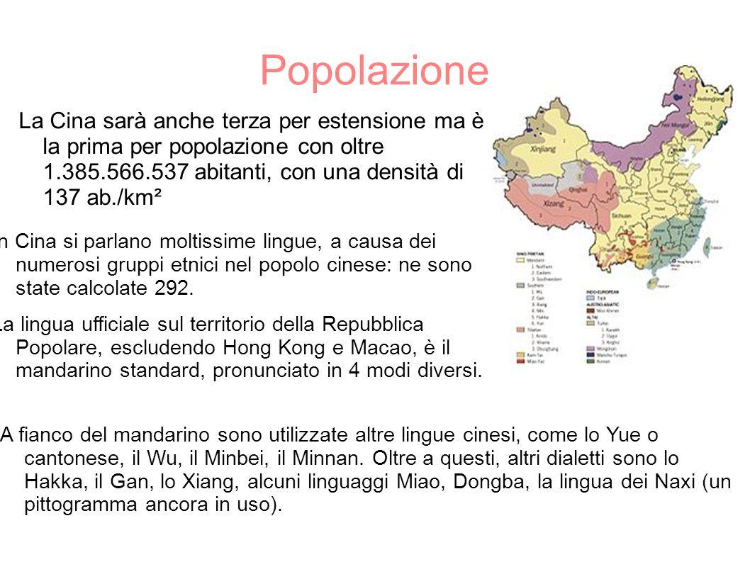 Popolazione La Cina sarà anche terza per estensione ma è la prima per popolazione con oltre 1.385.566.537 abitanti, con una densità di 137 ab./km² A f