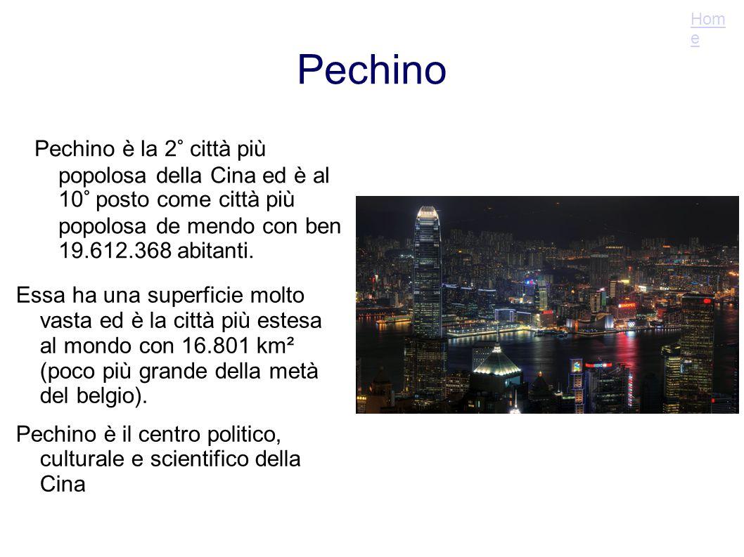 Pechino Pechino è la 2° città più popolosa della Cina ed è al 10° posto come città più popolosa de mendo con ben 19.612.368 abitanti. Essa ha una supe