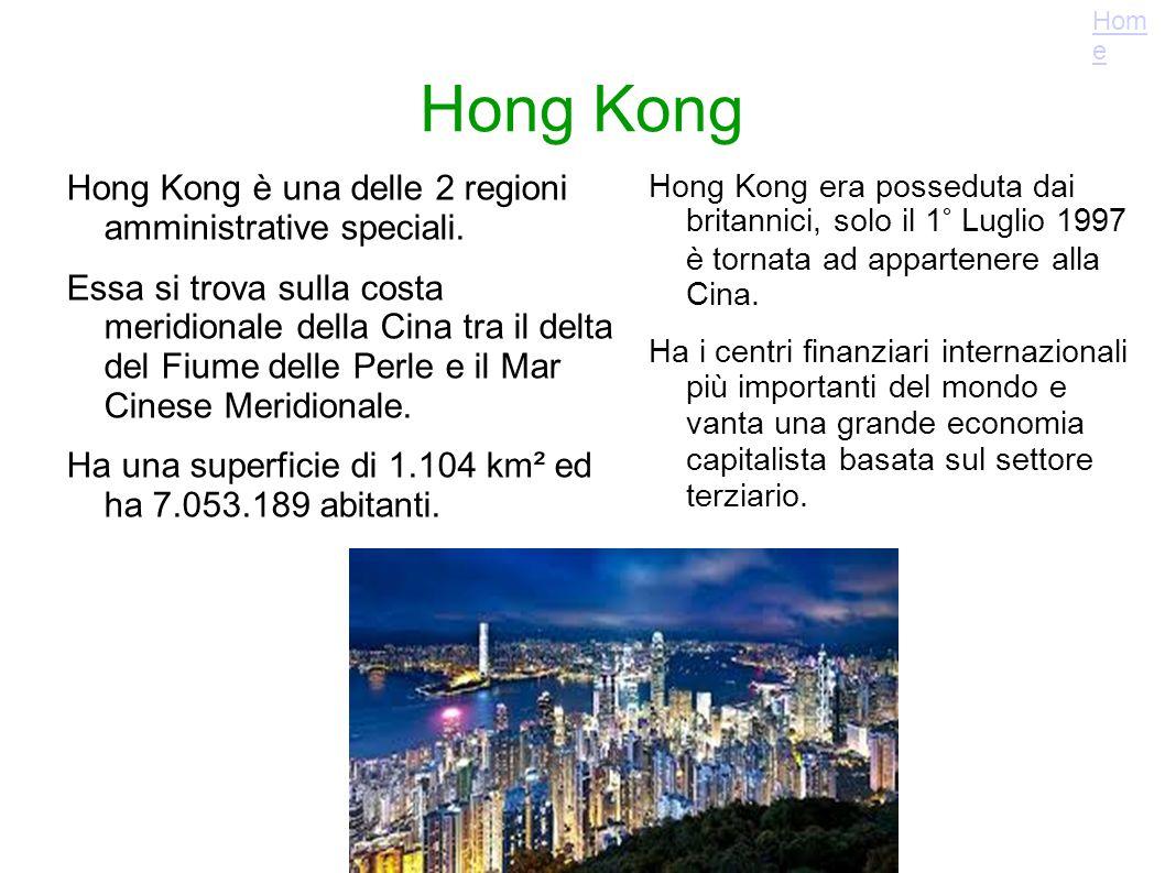Hong Kong Hong Kong era posseduta dai britannici, solo il 1° Luglio 1997 è tornata ad appartenere alla Cina. Ha i centri finanziari internazionali più