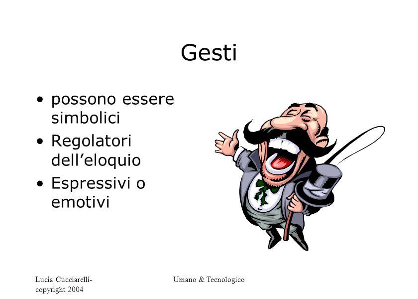 Lucia Cucciarelli- copyright 2004 Umano & Tecnologico Gesti possono essere simbolici Regolatori dell'eloquio Espressivi o emotivi