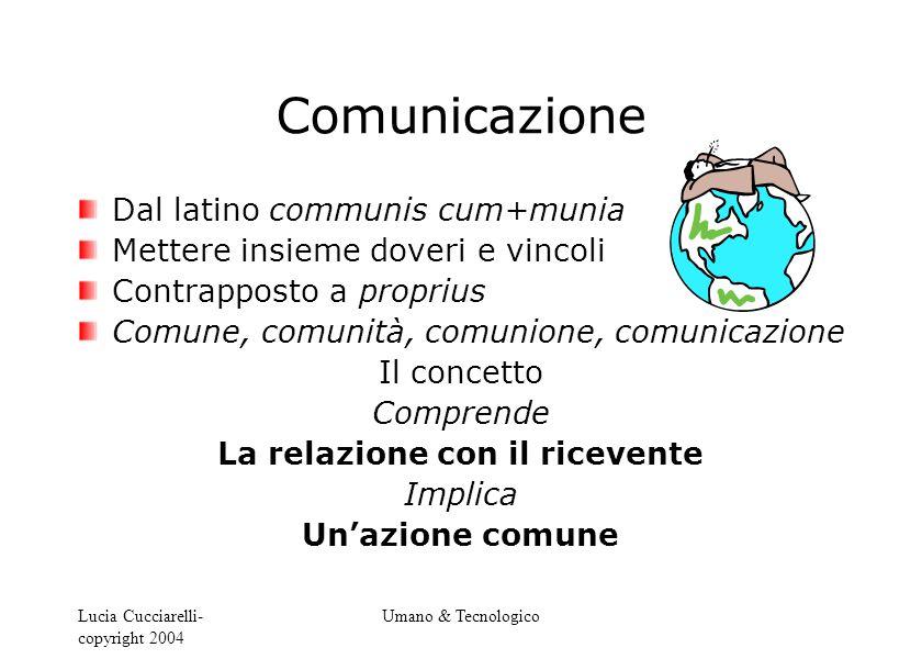Lucia Cucciarelli- copyright 2004 Umano & Tecnologico Comunicazione Dal latino communis cum+munia Mettere insieme doveri e vincoli Contrapposto a prop