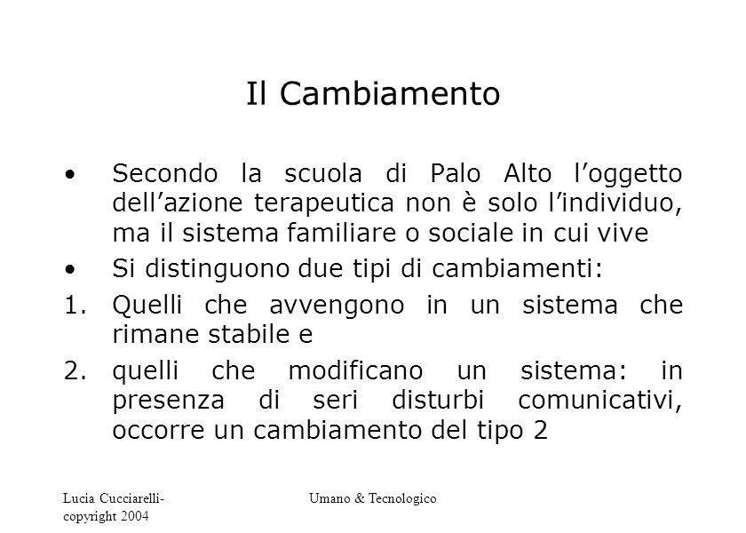 Lucia Cucciarelli- copyright 2004 Umano & Tecnologico Il Cambiamento Secondo la scuola di Palo Alto l'oggetto dell'azione terapeutica non è solo l'ind