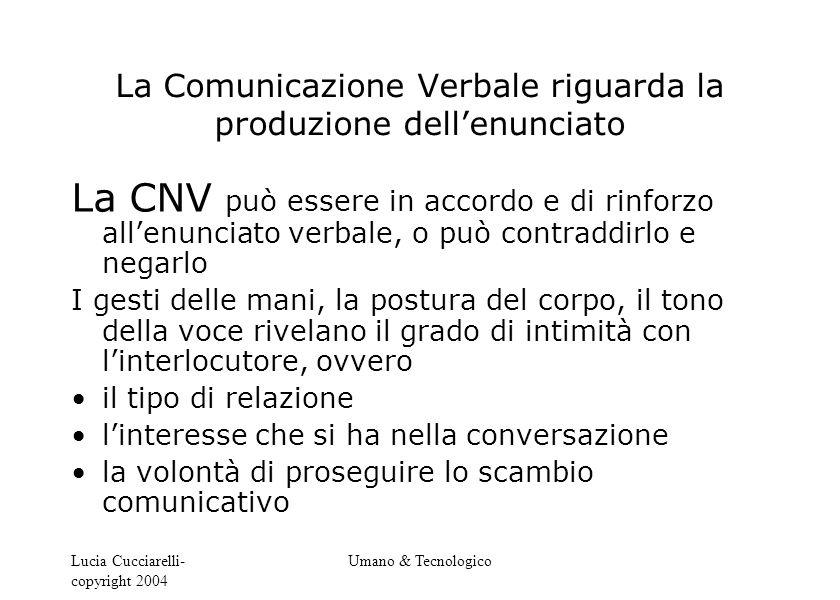 Lucia Cucciarelli- copyright 2004 Umano & Tecnologico La Comunicazione Verbale riguarda la produzione dell'enunciato La CNV può essere in accordo e di
