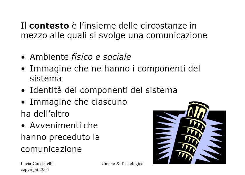 Lucia Cucciarelli- copyright 2004 Umano & Tecnologico Il contesto è l'insieme delle circostanze in mezzo alle quali si svolge una comunicazione Ambien