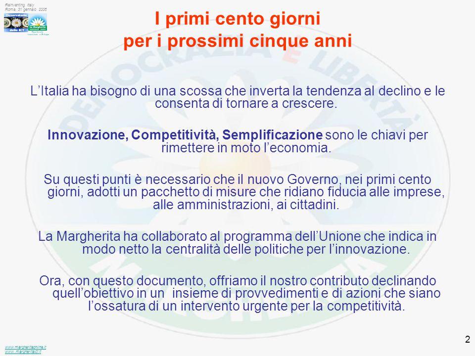 Dipartimento Innovazione e Sviluppo www.margheritaonline.it www.,margheritaict.it Reinventing Italy Roma, 31 gennaio 2006 2 I primi cento giorni per i prossimi cinque anni L'Italia ha bisogno di una scossa che inverta la tendenza al declino e le consenta di tornare a crescere.