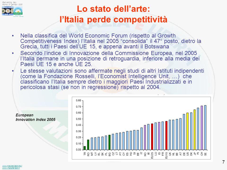 Dipartimento Innovazione e Sviluppo www.margheritaonline.it www.,margheritaict.it Reinventing Italy Roma, 31 gennaio 2006 7 Lo stato dell'arte: l'Italia perde competitività Nella classifica del World Economic Forum (rispetto al Growth Competitiveness Index) l'Italia nel 2005 consolida il 47° posto, dietro la Grecia, tutti i Paesi dell'UE 15, e appena avanti il Botswana Secondo l'indice di Innovazione della Commissione Europea, nel 2005 l'Italia permane in una posizione di retroguardia, inferiore alla media dei Paesi UE 15 e anche UE 25.